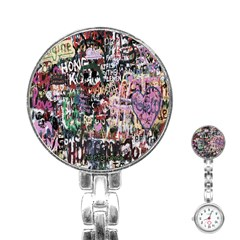 Graffiti Wall Pattern Background Stainless Steel Nurses Watch by Nexatart