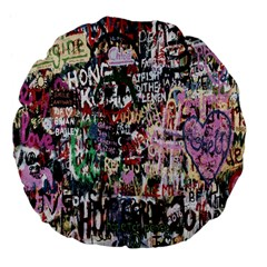 Graffiti Wall Pattern Background Large 18  Premium Flano Round Cushions