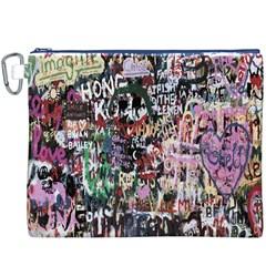 Graffiti Wall Pattern Background Canvas Cosmetic Bag (xxxl) by Nexatart