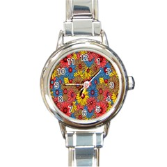 Background With Multi Color Floral Pattern Round Italian Charm Watch