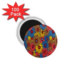 Background With Multi Color Floral Pattern 1 75  Magnets (100 Pack)  by Nexatart