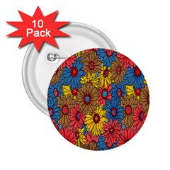 Background With Multi Color Floral Pattern 2 25  Buttons (10 Pack)