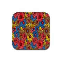Background With Multi Color Floral Pattern Rubber Coaster (square)  by Nexatart