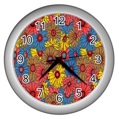 Background With Multi Color Floral Pattern Wall Clocks (silver)