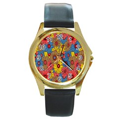 Background With Multi Color Floral Pattern Round Gold Metal Watch