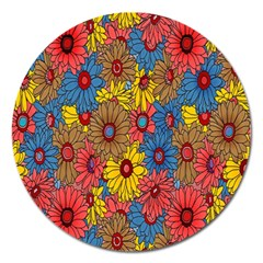 Background With Multi Color Floral Pattern Magnet 5  (round) by Nexatart