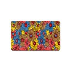 Background With Multi Color Floral Pattern Magnet (name Card)