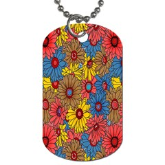 Background With Multi Color Floral Pattern Dog Tag (two Sides)