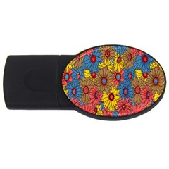 Background With Multi Color Floral Pattern Usb Flash Drive Oval (2 Gb) by Nexatart