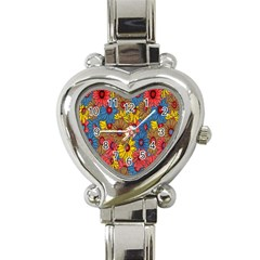 Background With Multi Color Floral Pattern Heart Italian Charm Watch by Nexatart