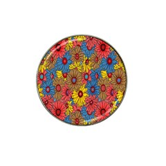Background With Multi Color Floral Pattern Hat Clip Ball Marker