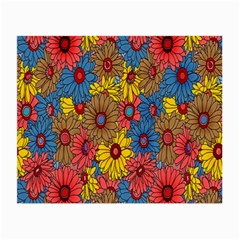 Background With Multi Color Floral Pattern Small Glasses Cloth
