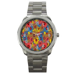 Background With Multi Color Floral Pattern Sport Metal Watch by Nexatart