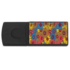 Background With Multi Color Floral Pattern Usb Flash Drive Rectangular (4 Gb) by Nexatart