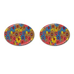 Background With Multi Color Floral Pattern Cufflinks (oval) by Nexatart