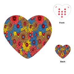 Background With Multi Color Floral Pattern Playing Cards (heart)