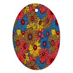 Background With Multi Color Floral Pattern Oval Ornament (two Sides)