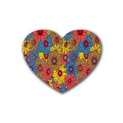 Background With Multi Color Floral Pattern Heart Coaster (4 Pack)