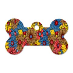 Background With Multi Color Floral Pattern Dog Tag Bone (one Side)