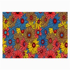 Background With Multi Color Floral Pattern Large Glasses Cloth (2 Side) by Nexatart