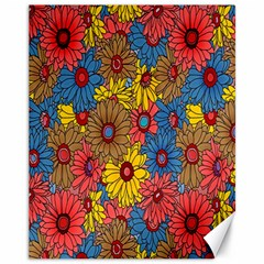 Background With Multi Color Floral Pattern Canvas 11  X 14