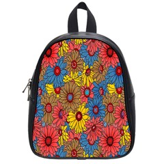 Background With Multi Color Floral Pattern School Bags (small)  by Nexatart