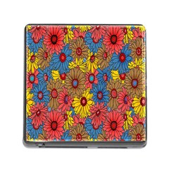 Background With Multi Color Floral Pattern Memory Card Reader (square)