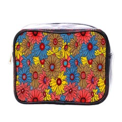 Background With Multi Color Floral Pattern Mini Toiletries Bags