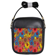 Background With Multi Color Floral Pattern Girls Sling Bags by Nexatart