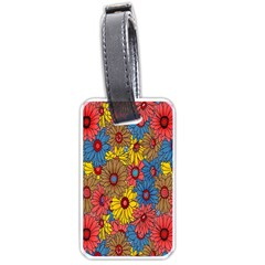 Background With Multi Color Floral Pattern Luggage Tags (two Sides) by Nexatart