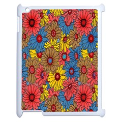 Background With Multi Color Floral Pattern Apple Ipad 2 Case (white) by Nexatart