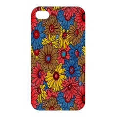 Background With Multi Color Floral Pattern Apple Iphone 4/4s Premium Hardshell Case