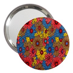 Background With Multi Color Floral Pattern 3  Handbag Mirrors