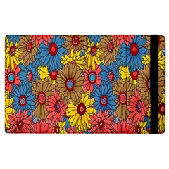 Background With Multi Color Floral Pattern Apple Ipad 2 Flip Case by Nexatart