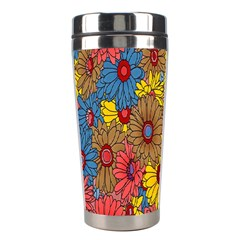 Background With Multi Color Floral Pattern Stainless Steel Travel Tumblers