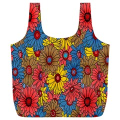 Background With Multi Color Floral Pattern Full Print Recycle Bags (l)