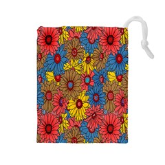 Background With Multi Color Floral Pattern Drawstring Pouches (large)