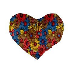 Background With Multi Color Floral Pattern Standard 16  Premium Flano Heart Shape Cushions by Nexatart