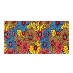 Background With Multi Color Floral Pattern Satin Wrap by Nexatart
