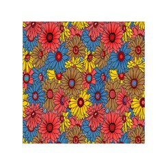 Background With Multi Color Floral Pattern Small Satin Scarf (square)