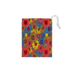 Background With Multi Color Floral Pattern Drawstring Pouches (xs)