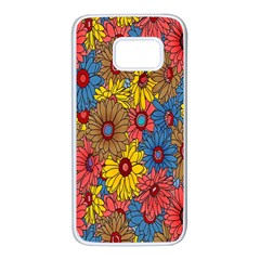 Background With Multi Color Floral Pattern Samsung Galaxy S7 White Seamless Case by Nexatart