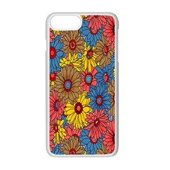 Background With Multi Color Floral Pattern Apple Iphone 7 Plus White Seamless Case by Nexatart