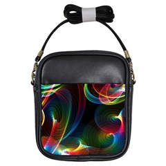 Abstract Rainbow Twirls Girls Sling Bags by Nexatart