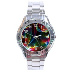 Abstract Rainbow Twirls Stainless Steel Analogue Watch