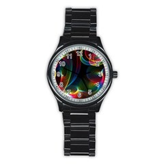 Abstract Rainbow Twirls Stainless Steel Round Watch