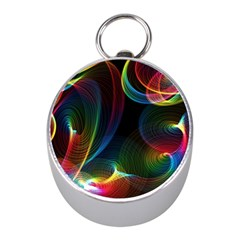 Abstract Rainbow Twirls Mini Silver Compasses by Nexatart