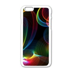Abstract Rainbow Twirls Apple Iphone 6/6s White Enamel Case by Nexatart