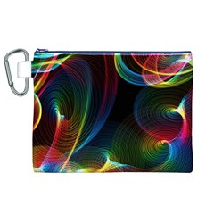 Abstract Rainbow Twirls Canvas Cosmetic Bag (xl) by Nexatart