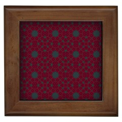 Blue Hot Pink Pattern With Woody Circles Framed Tiles by Nexatart
